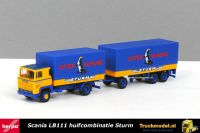 Herpa 157315 Sturm Int.Spedition Otter Schuhe Scania LB111 huifcombi