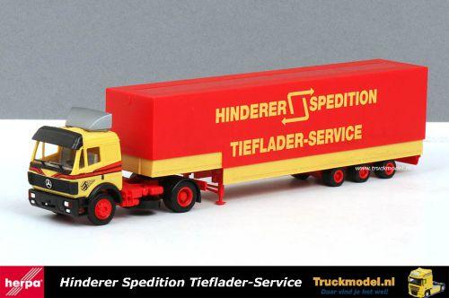 Herpa 166805 Hinderer Spedition Tieflader-ServiceMercedes