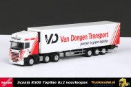 Herpa 1792 Van Dongen Transport Scania R500 Topline 6x2 koeloplegger