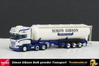 Herpa 303651 Simon Gibson Scania R500 6x2 Top- Streamline kipper silotrailer