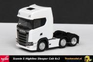 Herpa 307543 Scania S Highline Sleeper Cab 6x2 voorloopas trekker wit