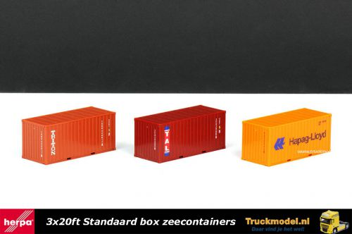 Herpa 076432-003 3x20ft standaard box zeecontainer set