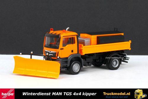 Herpa 308656 Winterdienst MAN TGS 4x4 kipper met sneeuwschuif en strooibak