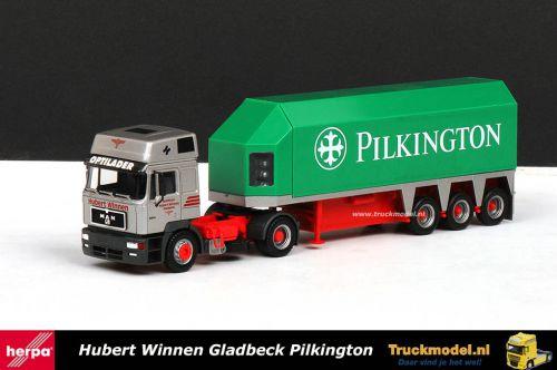 Herpa 144070 Hubert Winnen MAN F2000 XT Glastrailer Pilkington