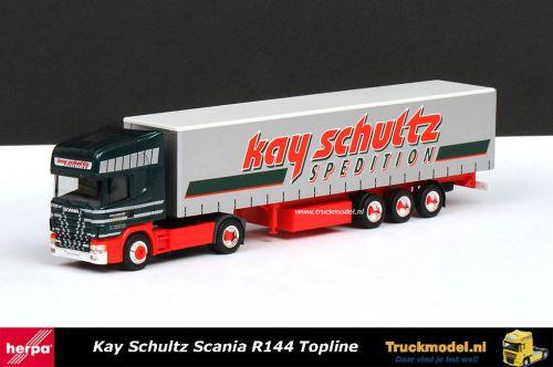 Herpa 146197 Kay Schultz Scania R144 Topline schuifzeiltrailer