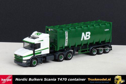 Herpa 150866 Nordic Bulkers Scania T470 30ft bulkcontainer oplegger