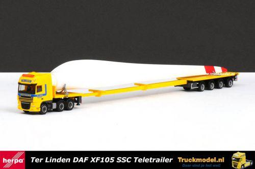 Herpa 159999 Ter Linden Daf XF105 SSC Teletrailer plus lading