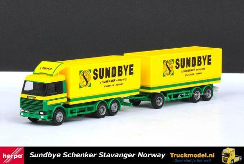 Herpa 229890 Sundbye Schenker Scania 143 Topline huifcombi