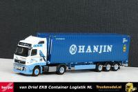 Herpa 302876 van Driel EKB Volvo FH03 Hanjin container oplegger