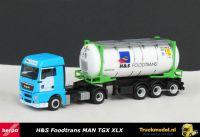 Herpa 303798 H en S Foodtrans MAN TGX XLX Swap tankcontainertrailer