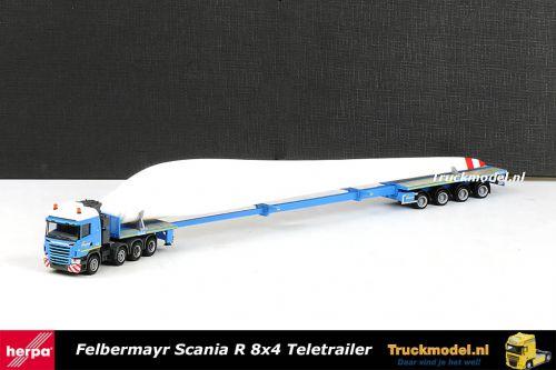 Herpa 907453 Felbermayr Scania R6 8x4 Teletrailer met rotorblad