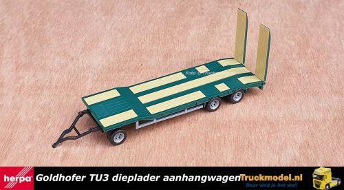 Herpa 076135-005 Goldhofer TU3 dieplader aanhangwagen Groen