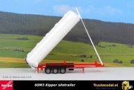 Herpa 075824 60m3 kipper silotrailer wit met rood chassis
