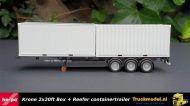 Herpa 076494-002 Krone 2x20ft box en reefer container oplegger