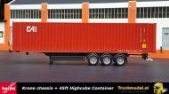 Herpa 076791 Krone chassis met 45ft HC Box CAI container