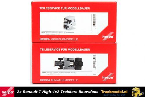 Herpa 085076-085083 Bouwset 2x Renault T 4x2 trekker wit