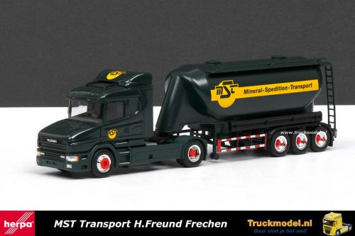 Herpa 145664 MST Freund Scania T124 Onderlosser bulkoplegger