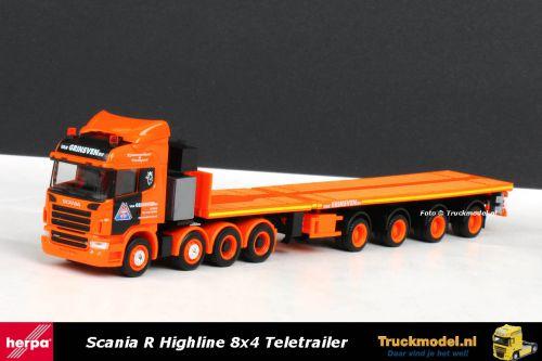 Herpa 156004 Van Grinsven Scania R Highline 8x4 Nooteboom teletrailer 3x XL
