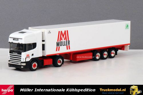 Herpa 238373 Muller Austria Scania R144 530 Topline koeltrailer