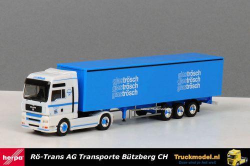Herpa 254168 Rö-Trans Zwitserland MAN TGA schuifzeiloplegger