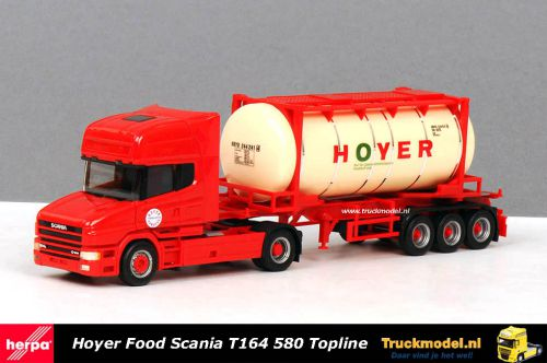 Herpa 255578 Hoyer Hamburg Scania T164 580 Topline Food tankcontainertrailer