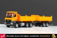 Herpa 302524 Mercedes Arocs 6x6 + tandem aanhanger Meiller drie zijdige kipper combinatie
