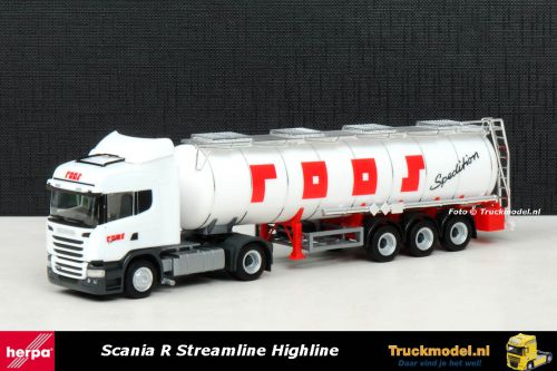 Herpa 302661 Spedition Roos Scania R Streamline Highline ADR Tankoplegger