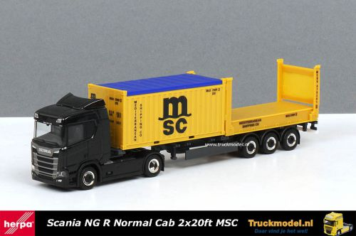 Herpa 302999A MSC Scania Normal Cab 2x20ft MSC container trailer