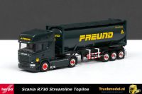 Herpa 303248 Scania R730 Streamline Topline 30ft Kipper silocontainer Freund Koln