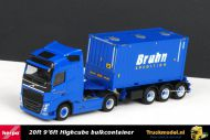 Herpa 303866 Bruhn Spedition Volvo FH Globetrotter 20ft highcube bulkcontainer oplegger