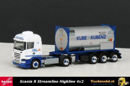 Herpa 303927 Kube Kubenz Scania R Streamline Highline trekker gastankcontainer oplegger