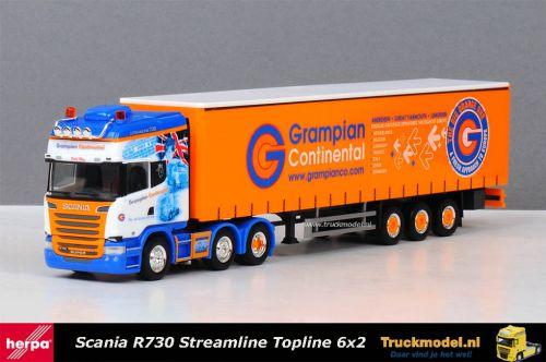 Herpa 304146 Grampian Continental Scania R730 schuifzeiltrailer