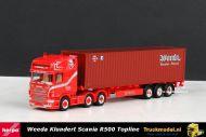 Herpa 304191 Weeda Klundert Scania R500 Topline 6x2 voorloopasd trekker containeroplegger