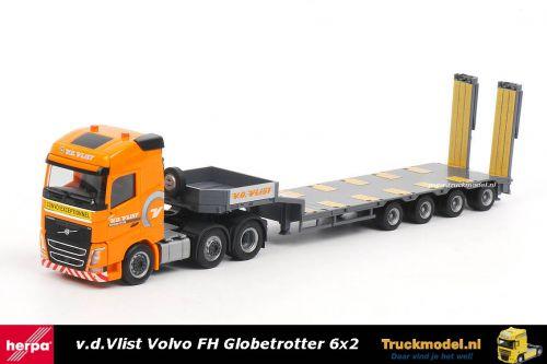 Herpa 306409 Van der Vlist Volvo FH Globetrotter semi dieplader