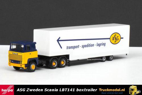 Herpa 307321 ASG Zweden Scania LBT141 gesloten volume oplegger