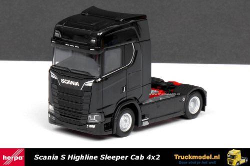 Herpa 307468 Scania S Highline Sleeper Cab 4x2 trekker zwart