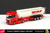 Herpa 307598 Michels Scania R Highline Sleeper Cab kipper silotrailer
