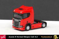 Herpa 307659 Scania R Normal Sleeper Cab 4x2 trekker Rood