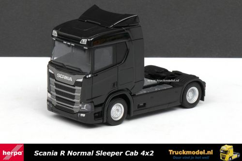 Herpa 307666 Scania R Normal Sleeper Cab 4x2 trekker zwart