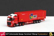 Herpa 307710 GVT Barge Terminal Tilburg Volvo container oplegger