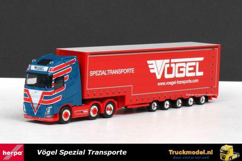 Herpa 308144 Vogel Spezial Transporte Volvo FH Globetrotter 5 as Meusburger dieplader volume oplegger