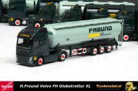 Herpa 308168 H.Freund Frechen Volvo FH Globetrotter XL kipper silotrailer