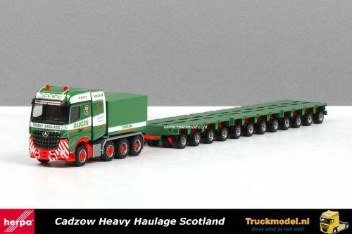 Herpa 308588 Cadzow Scotland Mercedes Arocs ballastbak 3x4 Aslijnen moduletrailer
