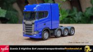 Herpa 308601-002 Scania S Highline 8x4 Triple Zwaartransporttrekker Blauw