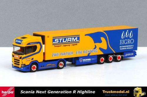 Herpa 309325 Hans Sturm Int.Spedition Eigro Scania Koeloplegger