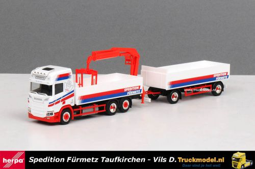 Herpa 309714 Spedition Furmetz Scania NG R HL Open combi met kraan
