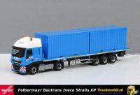 Herpa 310093 Bau-Trans Felbermayr Iveco Stralis vlakke oplegger met 2 materiaal containers
