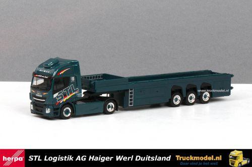 Herpa 310147 STL Logistik Iveco Stralis Hi-Way Langendorf binnenlader trailer