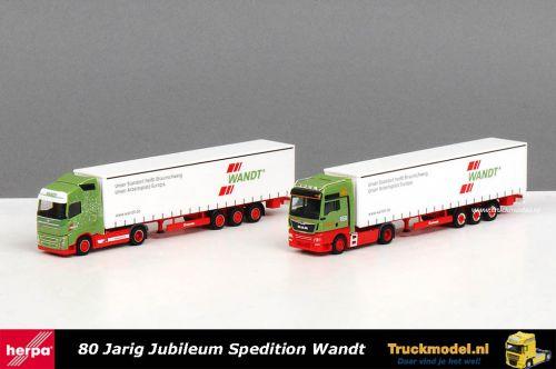 Herpa 310215 80 Jaar Spedition Wandt MAN Volvo modellen set