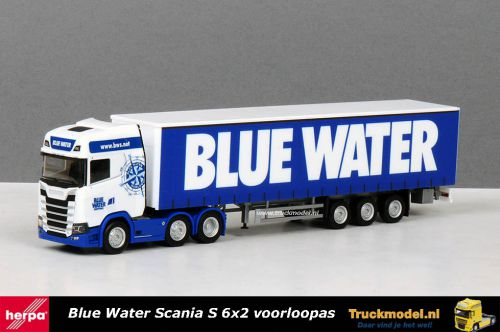 Herpa 310659 Blue Water Scania S580 Highline 6x2 schuifzeiloplegger